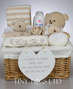 Unisex Baby Boy Girl Hamper Gift Basket with 7 piece layette set & cute teddy Baby Shower Present