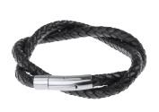 Men Bracelet Stainless Steel Leather Bracelet Bangle Black Silver Braided Biker Men Titanium Charm Wristband Clasp Rope Bracelet Men's Jewellery Braided Xmas Gifts