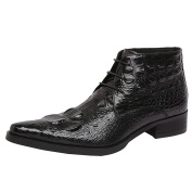 Wuf Mens Genuine Leather Ankle Boots Shoes Lace Up Crocodile Embossed
