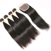 Silkylong Brazilian Hair Weave Bundles With Closure Straight Weave 4 X 4 Free part Unprocessed 4 Bundles Human Hair With Lace Closure