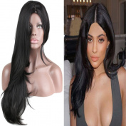 Eseewigs Beautiful Women's Long Straight Heat Resistant Wig Black Middle Part Wig Costume Party Wigs