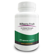 Real Herbs Bilberry Fruit Extract 4:1 375mg - Antioxidant-Rich, Promotes Blood Circulation & Vision, Improves Cardiovascular Health - 100 Vegetarian Capsules