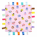 Pink with Multi-Coloured Owls Tag, Taggy Blanket - Plain Cream Textured Underside