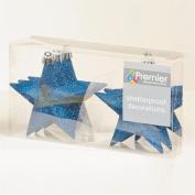 Christmas Tree Decoration 6 Pack 100mm Shatterproof Glitter Stars - M Blue