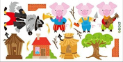 Skyllc® Three Little Pigs Big Bad Wolf to Build a House Wallpaper Nursery Children Baby Wallpaper Early Childhood Moral Mural Wall Stickers
