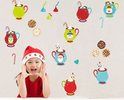 Skyllc® Coffee Cup with Santa Claus Cartoon Animals Christmas Gifts Removable Wall Vinyl Sticker Decals Decor Art Bedroom Design Mural Home Decoration