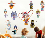 Skyllc® Cartoon Peking Opera Characters of Chinese Style Wall Stickers Bedroom Decorative Murals Home Decoration Cute Version