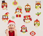 Skyllc® Lovely Christmas Owl Wall Stickers colourful Kids Room Mural Snowflake Cartoon Decorative Stickers