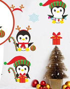 Skyllc® Merry Christmas Cute Penguin Elk Christmas Gifts Wall Decals Living Room Bedroom Window Removable Wall Stickers Murals Removable DIY Home Decorations Art Decor