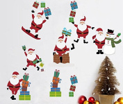 Skyllc® Merry Christmas Santa Claus Christmas Gifts Wall Decals Living Room Bedroom Shop Window Removable Wall Stickers Murals