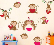 Skyllc® Lovely Cartoon Monkeys with Pink Heart Playing on the Tree Branches Wall Stickers Wall Murals DIY Posters Vinyl Removable Art Wall Decals for Kids Room Decoration