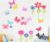 Skyllc® Removable Flowers and Butterflies Wall Stickers Home Decor Art Decal Living Room Bedroom Background Wall Paper