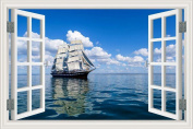 3D Window Scenery Wall Sticker Sailing Boat Ocean Vinyl Wallpaper Home Decal 50cm x 70cm