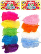2 Packs Of Mixed Assorted Colour Decorative 80mm Craft Feathers by Henbrandt