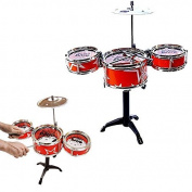Toy Cubby Kids Toddler Rock, Jazz and Country Band Mini Desktop Drum Set - (Red) by Toy Cubby