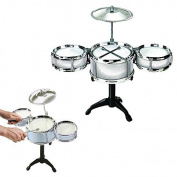 Toy Cubby Kids Toddler Rock, Jazz and Country Band Mini Desktop Drum Set - (Silver) by Toy Cubby