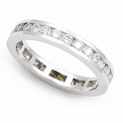 14k White Gold Channel set Diamond Eternity Wedding Band Ring