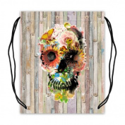 Sugar Skull on Colourful Wood Pattern Basketball Drawstring Bags Backpack, Sports Equipment Bag - 42cm (W) x 49cm (H), Twin-sided Print