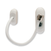 2 x White Max6mum Security Window & Door Restrictor for Baby and Child Safety - uses strong cable and is key lockable