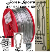 Medium Duty 17m Indoor/Outdoor Cable Kit for Baseball Softball Batting Cage Net with 0.8cm turnbuckles, 1/8 cable clamps, and zinc carabiners