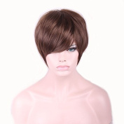 Hrph 28cm Fashion Sexy Bob Ladies Synthetic Wig Women Tilted Frisette Short Hair Cosplay Wigs Brown