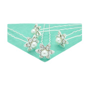 4 x Austrian Crystal/ Diamante & Faux Pearl Flower Design Silver Plated Hair Pins for Weddings/ Proms/ Parties etc.