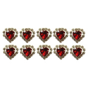 Jewellery of Lords 10 Red Heart Shaped Large Coloured Crystal Hair Pin with Clear Mounted Crystals Hairpin by Jewellery of Lords
