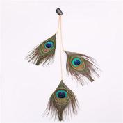 RUNHENG Handmade Feather Peacock Headband, Indian Hippie Feathe Head Chain