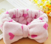 Fendii Coral Velvet Face Elastic Headband Makeup Cosmetic Hairband Big Bow Beauty Lovely Dot Bow Hair Accessory Pink heart