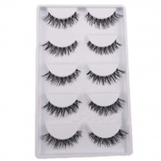 5 Pairs Natural False Eyelash Black Cross Soft Long Makeup Fake Lashes Extension