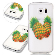 For Christmas! ISAKEN Samsung Galaxy S6 Edge Case, Galaxy S6 Edge Cover Shock-Absorption Soft TPU Bumper Anti-Scratch Hard Back Case Ultraslim Case for Galaxy S6 Edge Unique Elegant Printing Drawing Design Case - douple pineapple