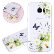 ISAKEN Samsung Galaxy S7 Edge Case, Galaxy S7 Edge Cover Shock-Absorption Bumper Colourful Printing Case Anti-Scratch Ultraslim COVER Soft Clear TPU Protective Case for Samsung S7 Edge - Butterfly flower bee