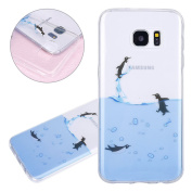 ISAKEN Samsung Galaxy S7 Edge Case, Galaxy S7 Edge Cover Shock-Absorption Bumper Colourful Printing Case Anti-Scratch Ultraslim COVER Soft Clear TPU Protective Case for Samsung S7 Edge - Flying penguin