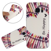 ISAKEN Samsung Galaxy S7 Edge Bumper Cover Shock-Absorption Bumper and Anti-Scratch Ultraslim Case for Galaxy S7 Edge-Soft Clear TPU Cover Unique Elegant Printing Drawing Flower Design TPU Case - Be Happy love heart