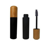 6ML 0.2oz Empty Refillable Black Eyelashes Tube Bottle Vial Container with Plug and Environmental Bamboo Cap for Mascara Eyelash Growth Oil