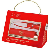 Red PRO Illuminating Tweezers & Mirrored Carry Case with Diamond Dust Tips