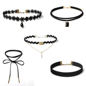 Necklace Choker, Transer® 5 Pcs Black Choker Necklace Set Stretch Velvet Classic Gothic Tattoo Elegent Lace Choker