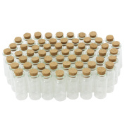 COM-FOUR 60X Mini Glass Bottle with Cork Stopper for Oil or Spices, 10 ml