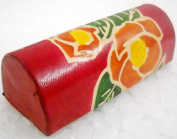 Exclusive Hand Embossed Colourful Floral Design Red Lipstick case with Mirror-Shantiniketan Pure Leather
