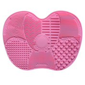 Molie Makeup Brush Cleaning Mat Cosmetic Brush Cleaner Pad Silicone Washing Tool Scrubber Suction Board Pink