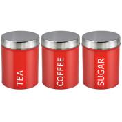 NEW RETRO RED ENAMEL TEA/COFFEE/SUGAR CANISTER SET by www.choicefullshop.com