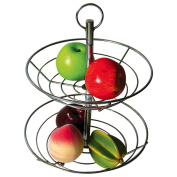 Top Home Solutions® 2 Tier Chrome Fruit Vegetable Basket Bowl Steel Wire Rack Stand Storage Holder