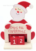 Days Til Until Christmas Advent Xmas Wooden Santa Countdown Calendar by from Then to Now