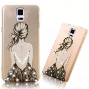Galaxy Note 4 Case Bling Diamond,Galaxy Note 4 Cover PC Hard,Vandot Transparent Matte Back Cover Slim Fit Non-Slip Rubber Shock-Absorbing Cover Case Printing Pattern for Samsung Galaxy Note 4-Sexy Backless Girl