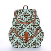 Snoogg Lite Blue Pattern Fashion Backpack For Women Printed Shoulder School Travel Camping Backpack Rucksack For Ladies Girls