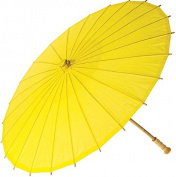 Luna Bazaar Paper Parasol (70cm , Buttercup Yellow) - Chinese/Japanese Paper Umbrella - For Weddings and Personal Sun Protection