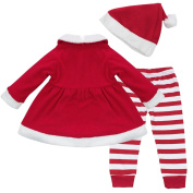 iEFiEL Baby Girls' 3pcs Christmas Santa Claus Outfit Costume Top Dress Leggings Hat Set