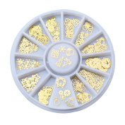 Women 3D Gold Metal Christmas Nail Art Decoration Slice Stickers Decal Foil Wheel
