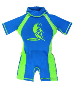 Swimfree Boys Blue/Green Floating Swimsuit Sun Protection Swim Suit Spf+50 Flotation Suit Size Medium For Kids Age 3.5-5.5 Years Old
