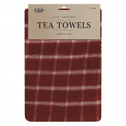 2 Pack Terry Kitchen Tea Towels 100% Cotton Red Black Navy Green